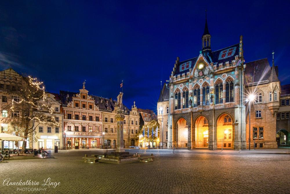 Weihnachten 2020 in Erfurt - Fischmarkt und Rathaus